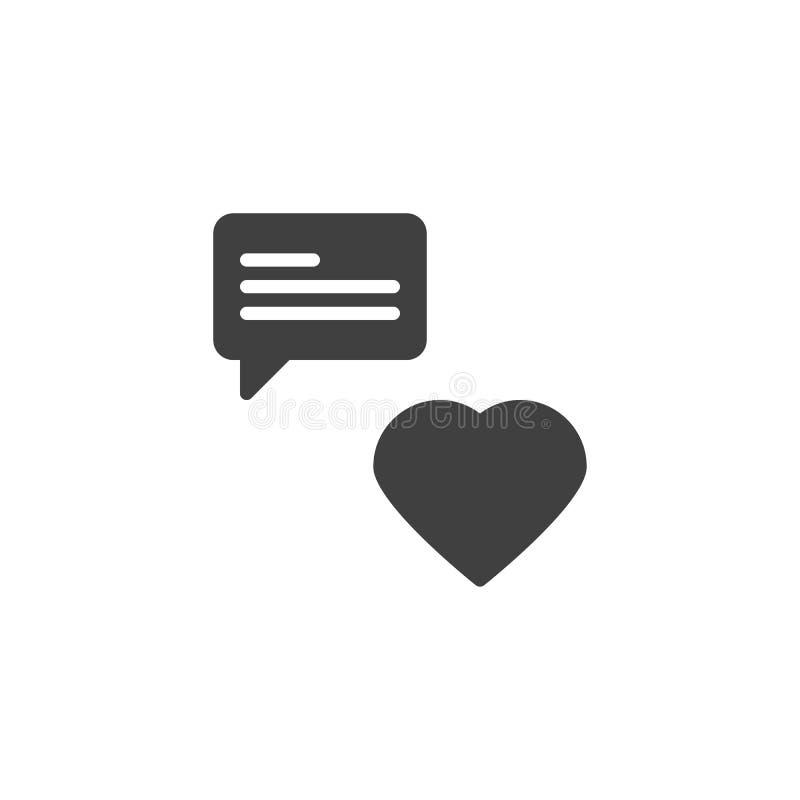 Icône de vecteur de message de causerie d'amour illustration stock