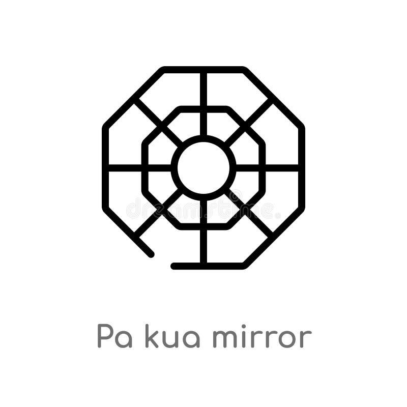 icône de vecteur de miroir de kua de PA d'ensemble ligne simple noire d'isolement illustration d'élément de concept de cultures C illustration libre de droits