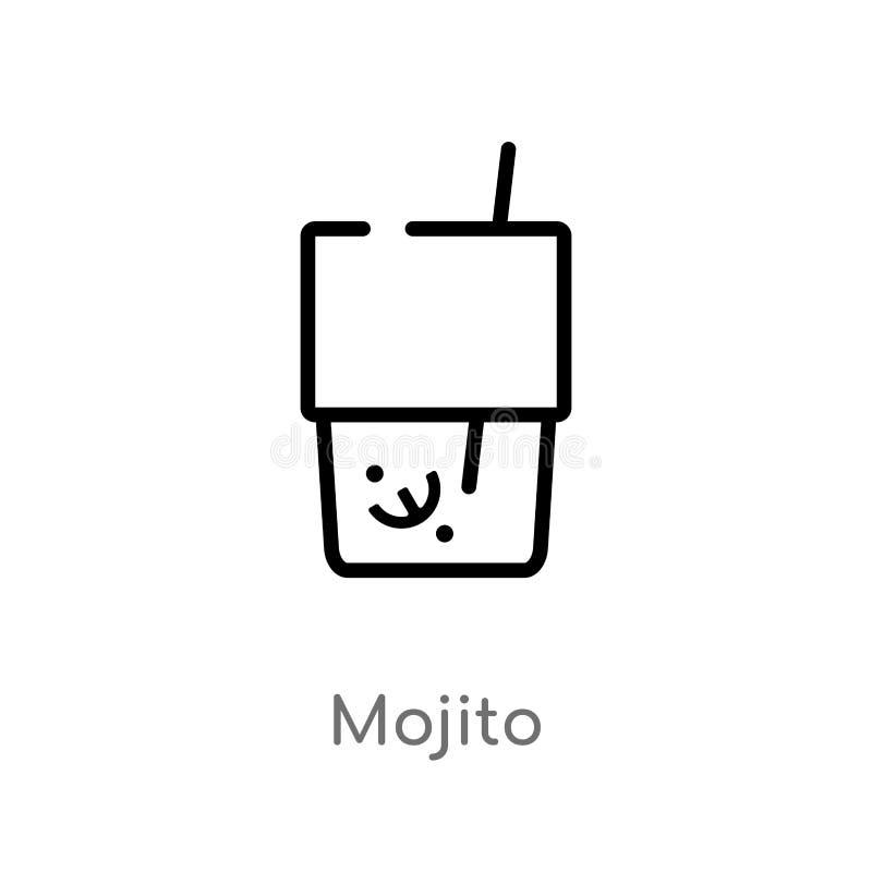 icône de vecteur de mojito d'ensemble ligne simple noire d'isolement illustration d'?l?ment de concept de boissons mojito editabl illustration de vecteur