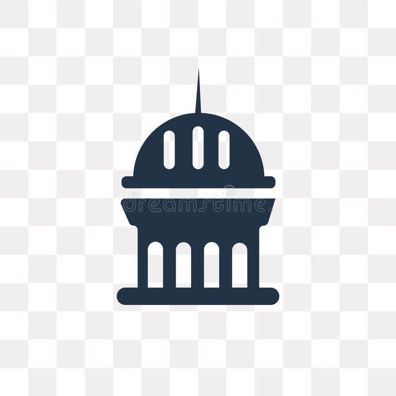 Icône de vecteur de monument d'isolement sur le fond transparent, Monumen illustration stock
