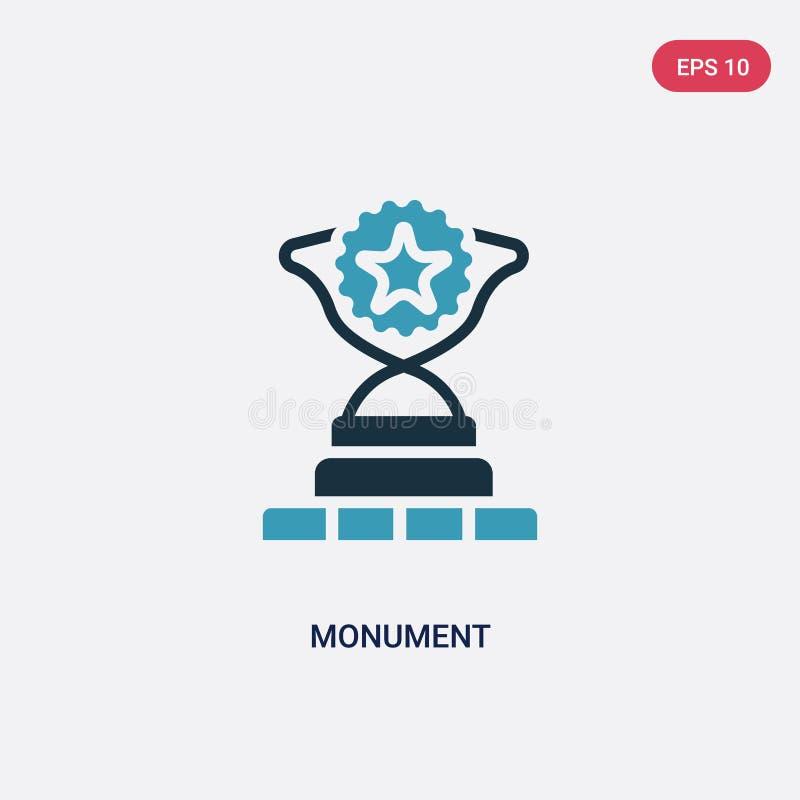 Icône de vecteur de monument de deux couleurs de concept de succès le symbole bleu d'isolement de signe de vecteur de monument pe illustration stock