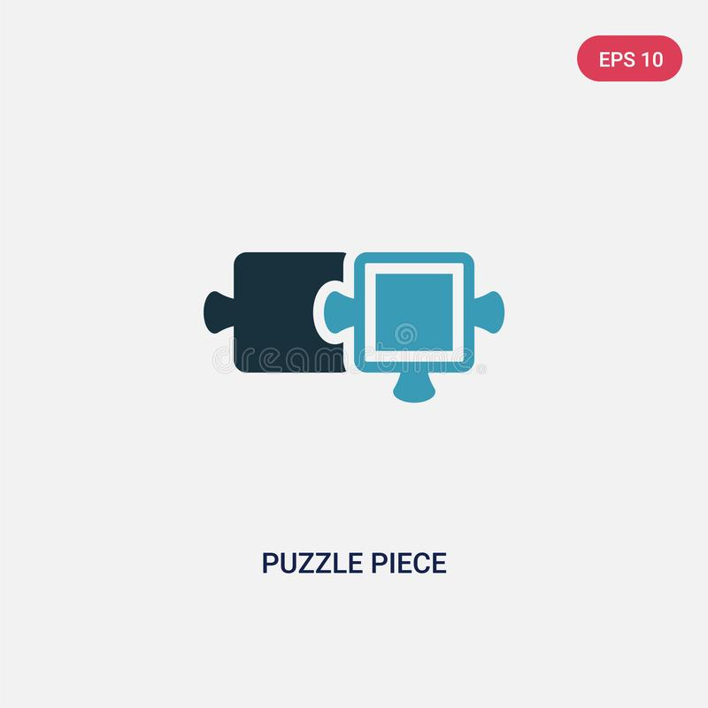 Icône de vecteur de morceau de puzzle de deux couleurs de concept de productivité le symbole bleu d'isolement de signe de vecteur illustration de vecteur