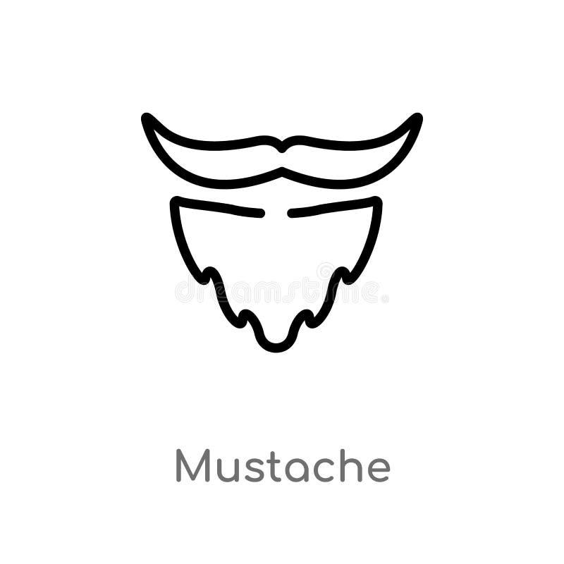 icône de vecteur de moustache d'ensemble ligne simple noire d'isolement illustration d'?l?ment de f?te d'anniversaire et de conce illustration libre de droits
