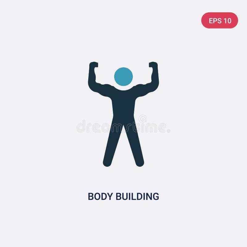 Icône de vecteur de musculation de deux couleurs de concept de qualifications de personnes le symbole bleu d'isolement de signe d illustration stock