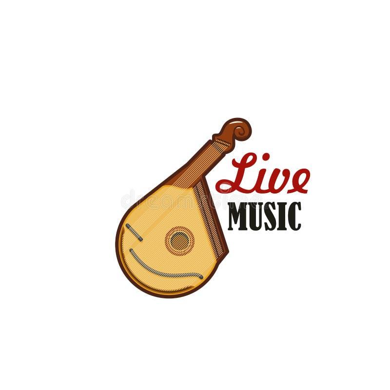 Icône de vecteur de musique folk ficelée par bandura de guitare illustration libre de droits