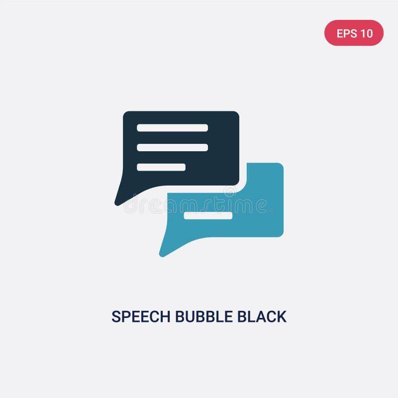Icône de vecteur de noir de bulle de la parole de deux couleurs de concept de formes le symbole bleu d'isolement de signe de vect illustration stock