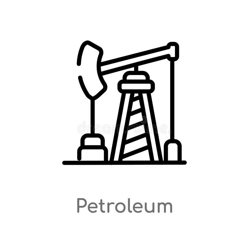 icône de vecteur de pétrole d'ensemble ligne simple noire d'isolement illustration d'?l?ment de concept de d?sert Course Editable illustration de vecteur