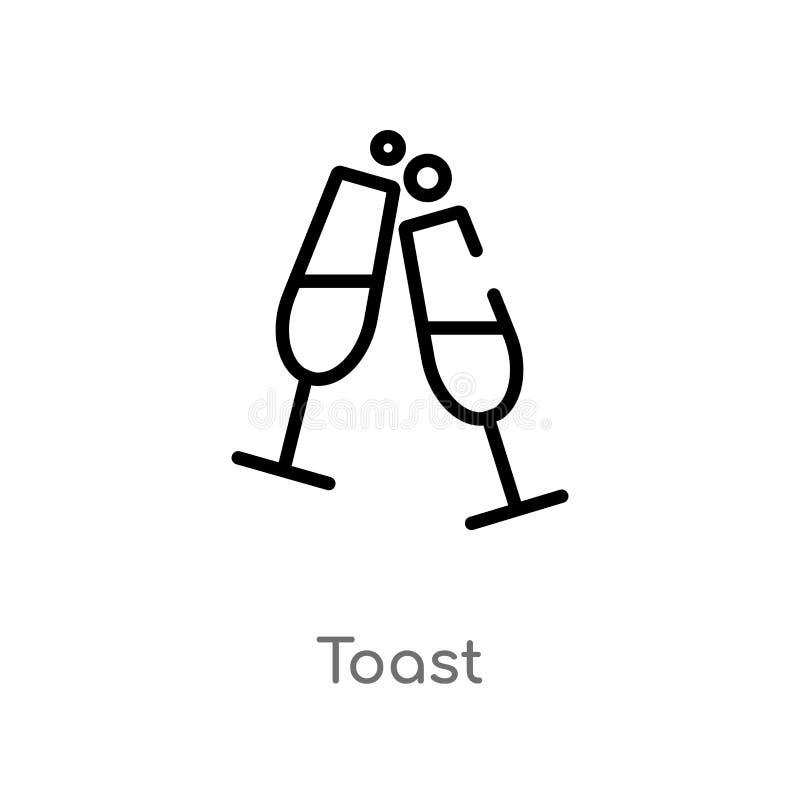 icône de vecteur de pain grillé d'ensemble ligne simple noire d'isolement illustration d'?l?ment de concept de boissons icône edi illustration de vecteur