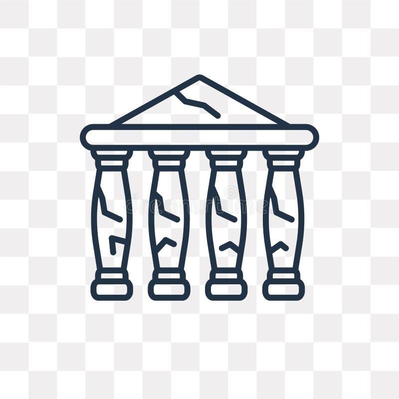 Icône de vecteur de parthenon d'isolement sur le fond transparent, linéaire illustration libre de droits