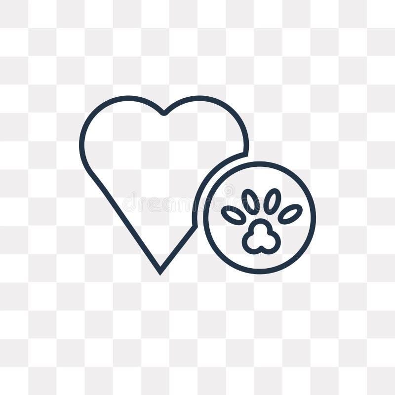Icône de vecteur de Pawprint de chien d'isolement sur le fond transparent, lin illustration stock