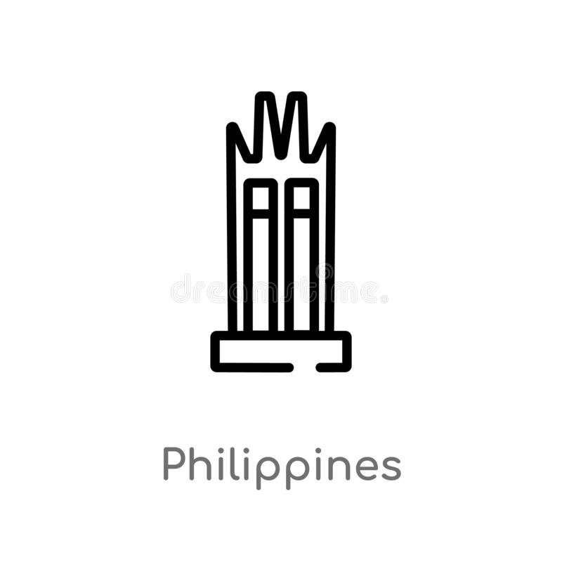 icône de vecteur de Philippines d'ensemble ligne simple noire d'isolement illustration d'élément de concept de monuments Course E illustration libre de droits