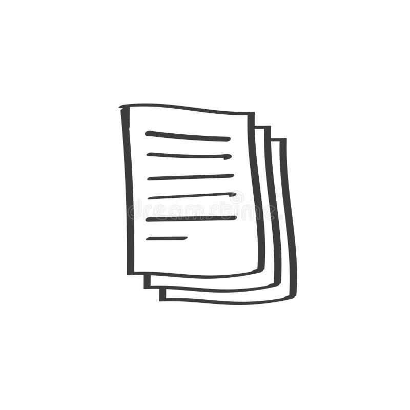 Icône de vecteur de pile de documents, schéma de griffonnage ou conception tirée par la main des pages de papier de feuille avec  illustration libre de droits