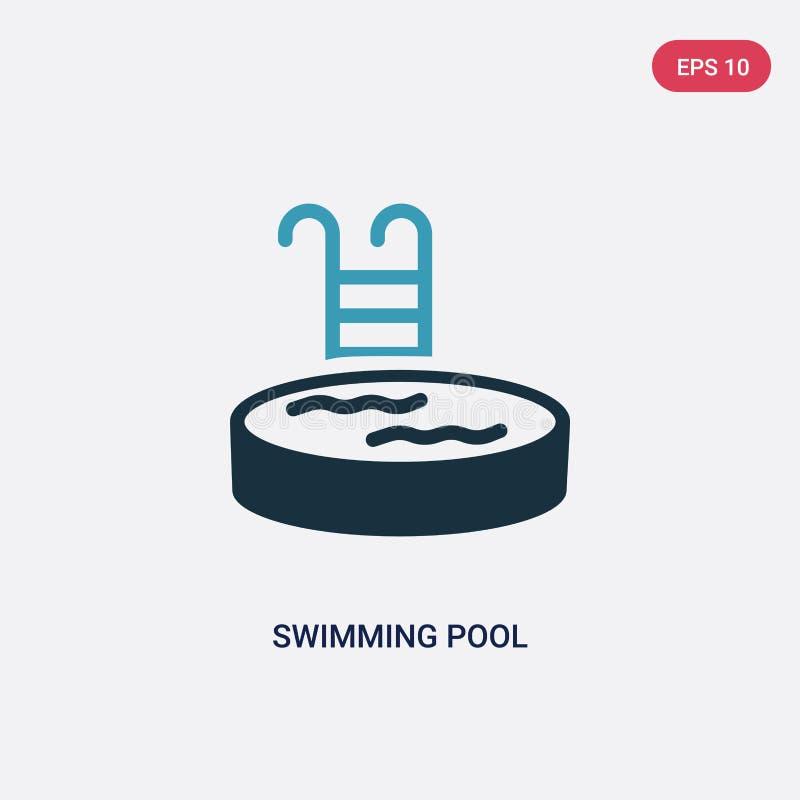 Icône de vecteur de piscine de deux couleurs de concept d'été le symbole bleu d'isolement de signe de vecteur de piscine peut êtr illustration libre de droits