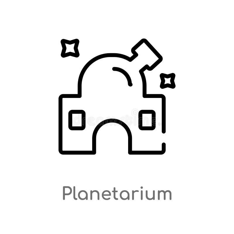 icône de vecteur de planétarium d'ensemble ligne simple noire d'isolement illustration d'élément de concept d'astronomie Course E illustration stock