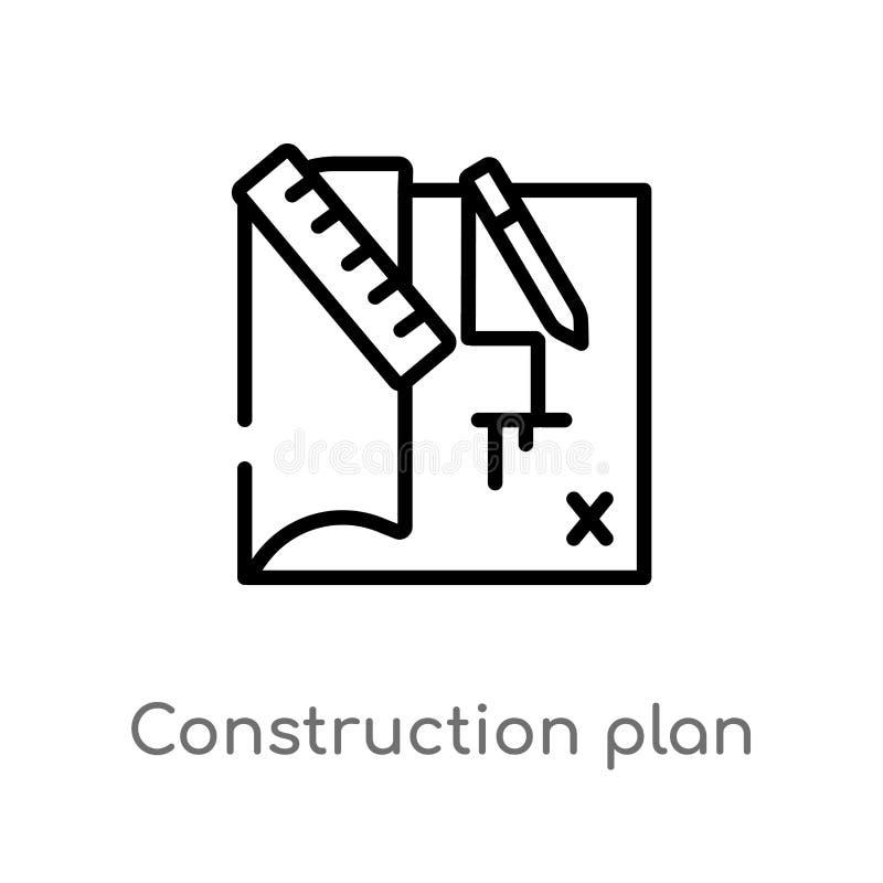 icône de vecteur de plan de construction d'ensemble ligne simple noire d'isolement illustration d'?l?ment de concept de construct illustration libre de droits