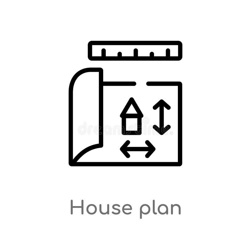 icône de vecteur de plan de maison d'ensemble ligne simple noire d'isolement illustration d'?l?ment de concept de construction Co illustration de vecteur