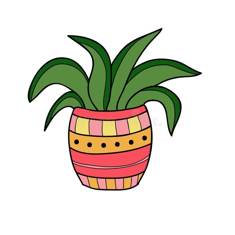 Icône de vecteur de plante d'intérieur Conception d'impression de T-shirt Autocollant mignon Affiche intérieure illustration de vecteur