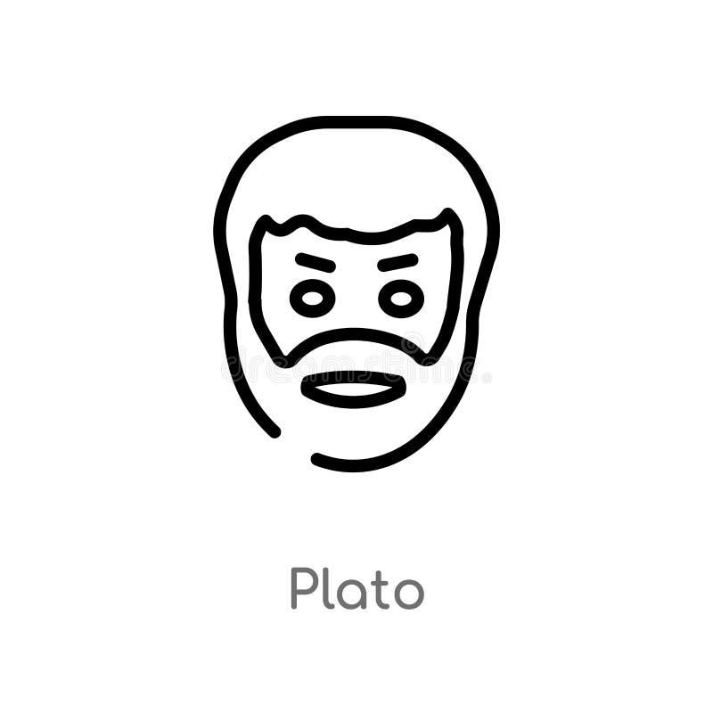 icône de vecteur de platon d'ensemble ligne simple noire d'isolement illustration d'élément de concept de la Grèce icône editable illustration libre de droits