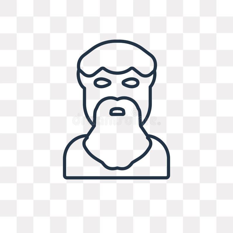 Icône de vecteur de Platon d'isolement sur le fond transparent, Pla linéaire illustration libre de droits