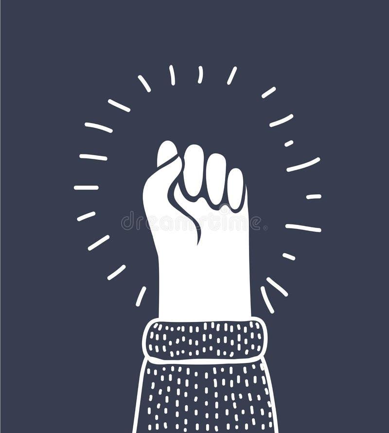 Icône de vecteur de poing d'isolement, main avec secouer le poing augmenté  illustration stock
