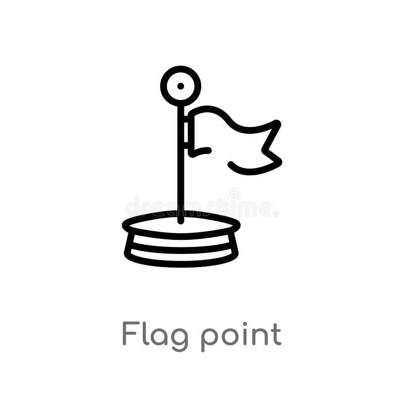 icône de vecteur de point de drapeau d'ensemble ligne simple noire d'isolement illustration d'élément de concept d'éducation Cour illustration de vecteur