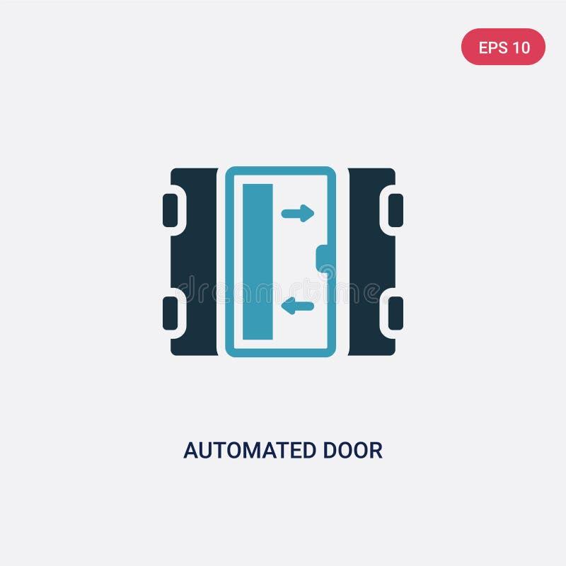 Icône de vecteur de porte automatisée deux par couleurs de concept à la maison futé le symbole automatisé bleu d'isolement de sig illustration stock