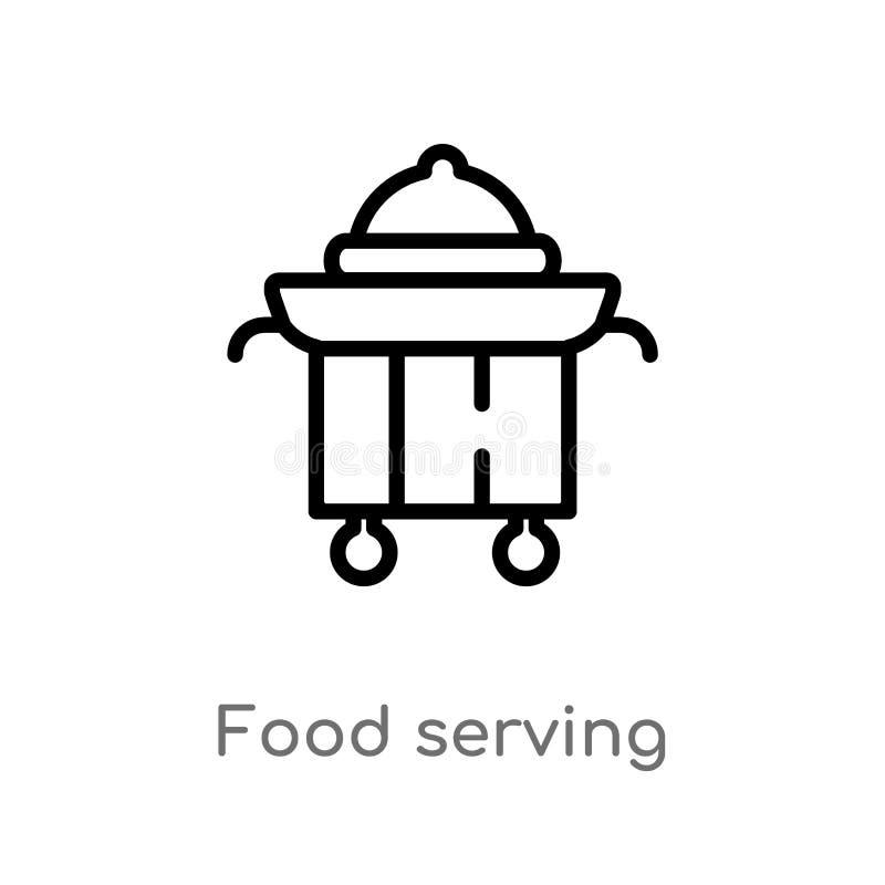 icône de vecteur de portion de nourriture d'ensemble ligne simple noire d'isolement illustration d'élément de concept d'aliments  illustration de vecteur