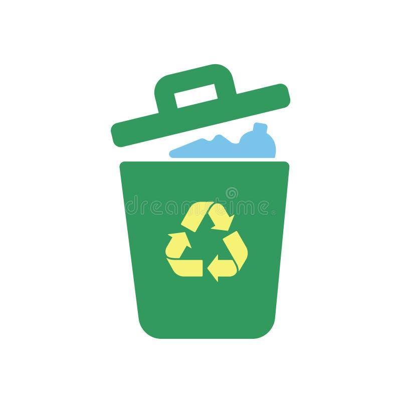 Icône de vecteur de poubelle de déchets Bio concept d'Eco, réutilisant Illustration plate de conception d'isolement sur le fond b illustration de vecteur