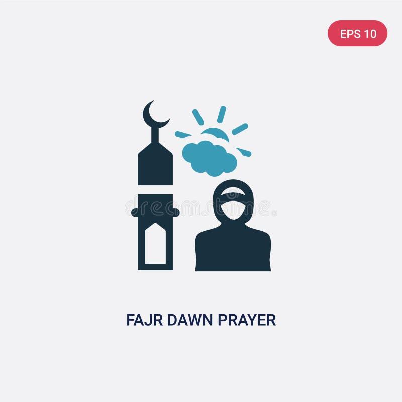 Icône de vecteur de prière d'aube de fajr de deux couleurs du concept religion-2 le symbole bleu d'isolement de signe de vecteur  illustration libre de droits
