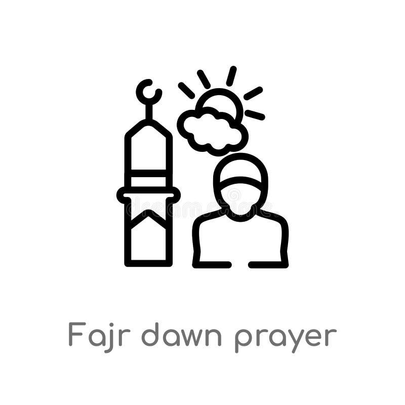 icône de vecteur de prière d'aube de fajr d'ensemble r Vecteur Editable illustration de vecteur