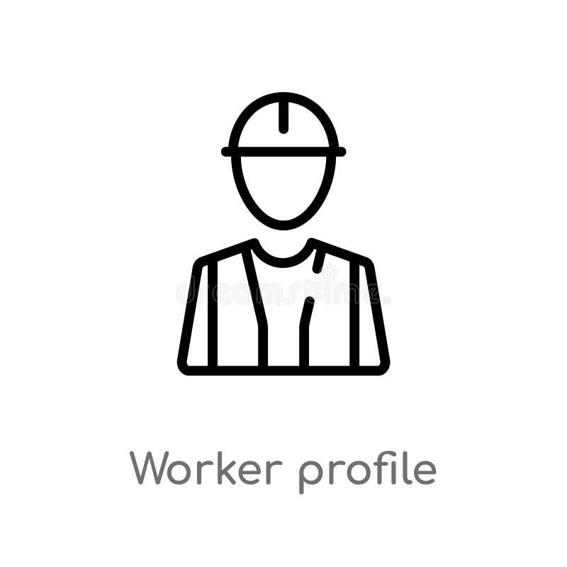 ic?ne de vecteur de profil de travailleur d'ensemble ligne simple noire d'isolement illustration d'?l?ment de concept d'utilisate illustration stock