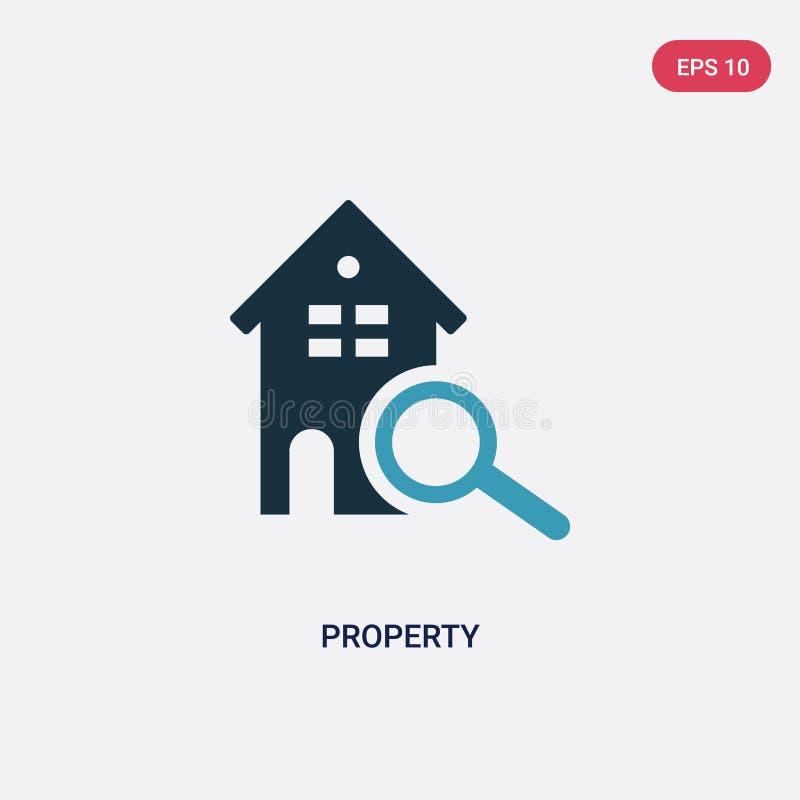 Icône de vecteur de propriété de couleur deux de concept d'immobiliers le symbole bleu d'isolement de signe de vecteur de proprié illustration de vecteur
