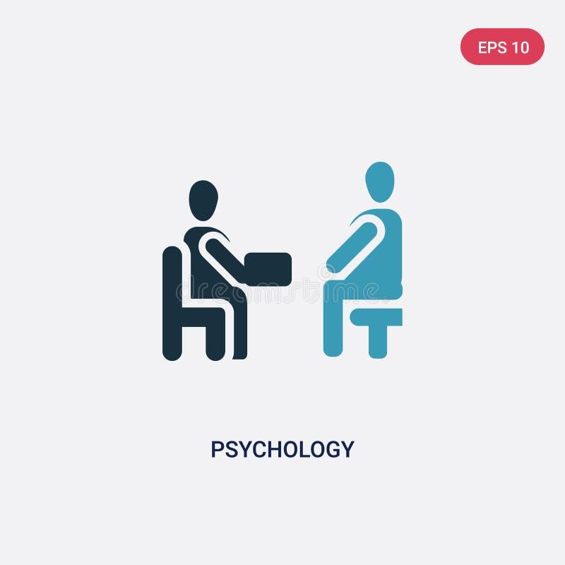 Icône de vecteur de psychologie de deux couleurs de concept de personnes le symbole bleu d'isolement de signe de vecteur de psych illustration de vecteur
