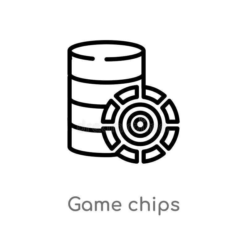 icône de vecteur de puces de jeu d'ensemble ligne simple noire d'isolement illustration d'?l?ment de concept de divertissement Co illustration stock