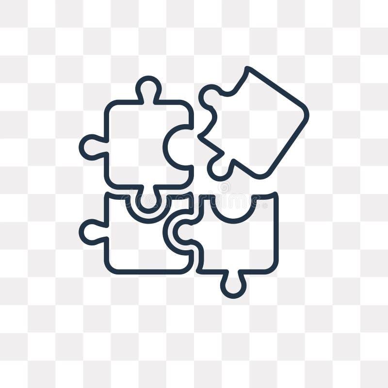 Icône de vecteur de puzzle d'isolement sur le fond transparent, unité centrale linéaire illustration libre de droits