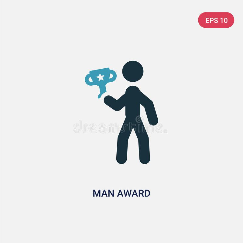 Icône de vecteur de récompense d'homme de couleur deux de concept de sports le symbole bleu d'isolement de signe de vecteur de ré illustration de vecteur