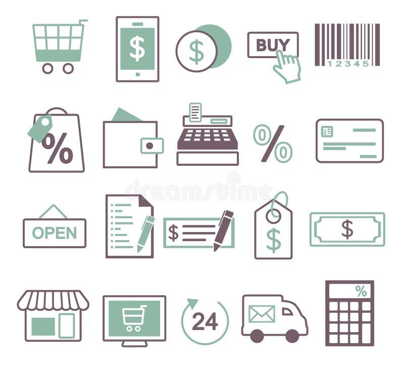 Icône de vecteur réglée pour créer l'inforaphics lié aux achats, à la vente et au commerce en ligne, y compris le caddie, télépho illustration de vecteur
