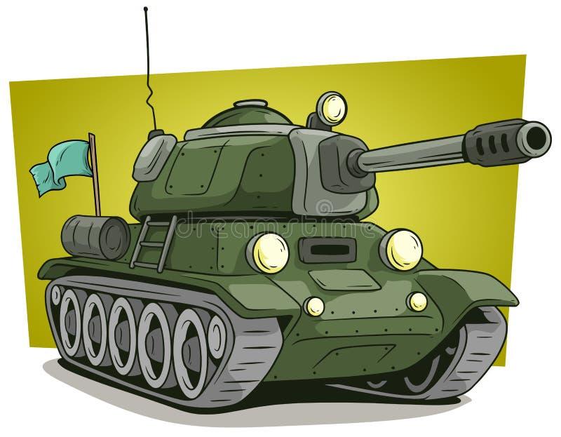 Icône de vecteur de réservoir d'armée militaire verte de bande dessinée grande illustration de vecteur
