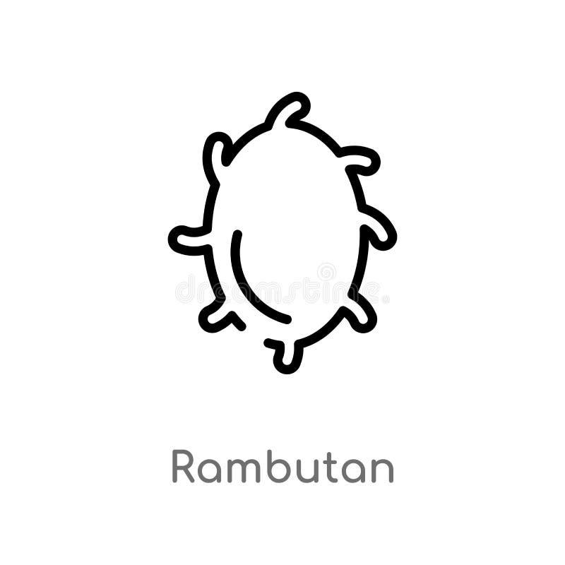 icône de vecteur de ramboutan d'ensemble ligne simple noire d'isolement illustration d'?l?ment de concept de fruits ramboutan edi illustration stock