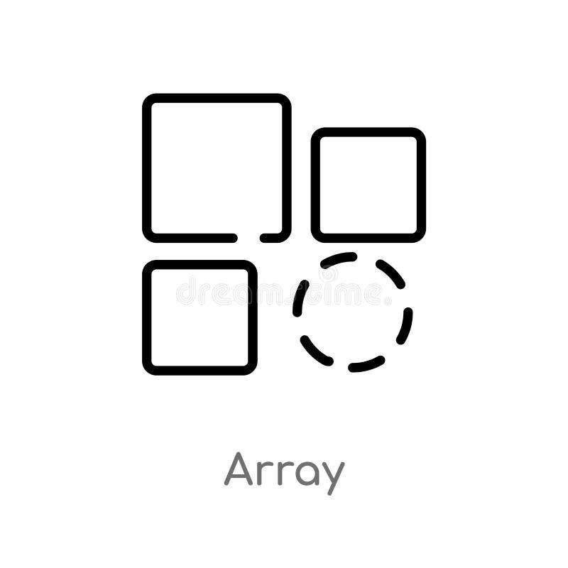 icône de vecteur de rangée d'ensemble ligne simple noire d'isolement illustration d'?l?ment de concept de la g?om?trie rangée edi illustration libre de droits