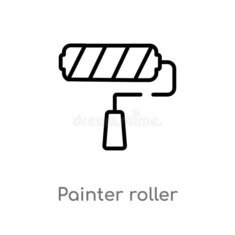icône de vecteur de rouleau de peintre d'ensemble ligne simple noire d'isolement illustration d'élément de concept d'outils Cours illustration de vecteur