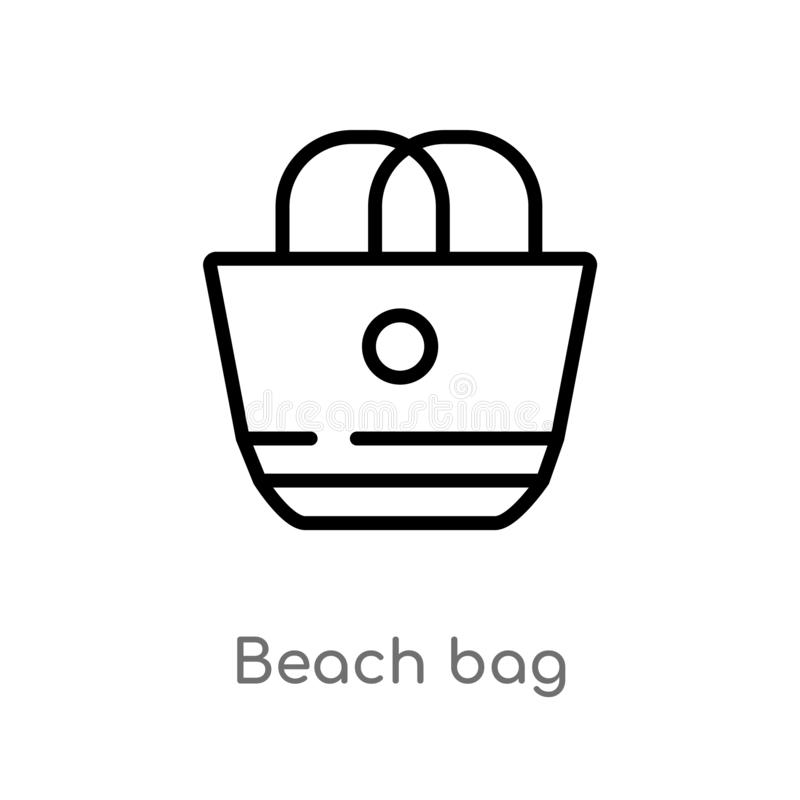 icône de vecteur de sac de plage d'ensemble ligne simple noire d'isolement illustration d'élément de concept d'été plage editable illustration libre de droits