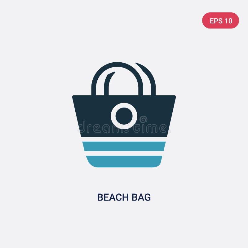 Ic?ne de vecteur de sac de plage de deux couleurs de concept d'?t? le symbole bleu d'isolement de signe de vecteur de sac de plag illustration de vecteur