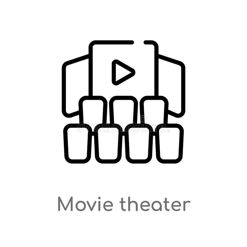 icône de vecteur de salle de cinéma d'ensemble ligne simple noire d'isolement illustration d'?l?ment de concept de cin?ma Course  illustration de vecteur