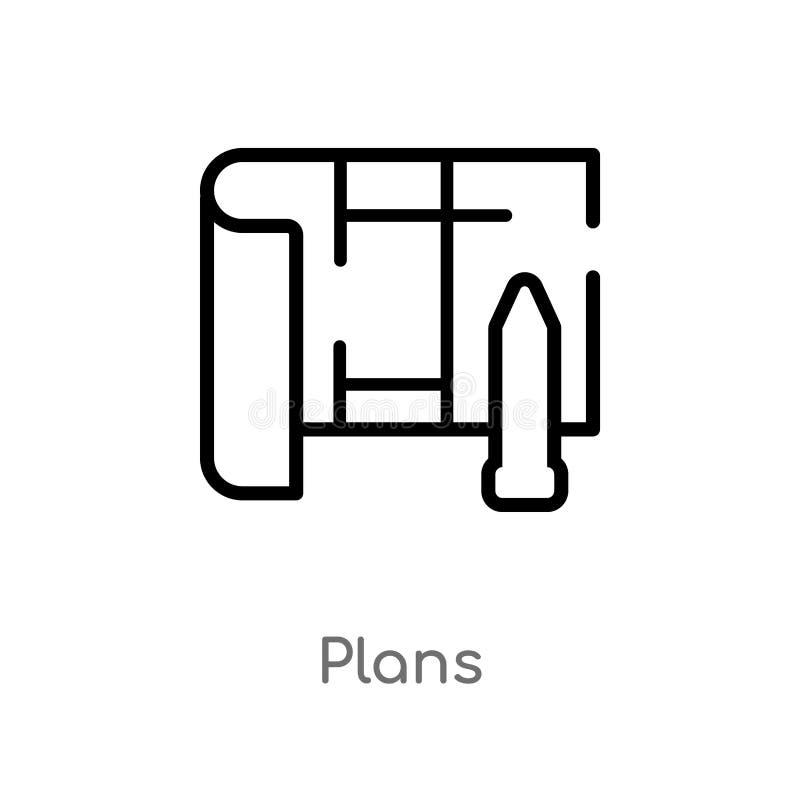 icône de vecteur de schémas directeurs ligne simple noire d'isolement illustration d'élément de concept d'immobiliers plans edita illustration de vecteur