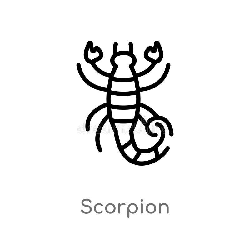 icône de vecteur de scorpion d'ensemble ligne simple noire d'isolement illustration d'?l?ment de concept de d?sert scorpion edita illustration de vecteur