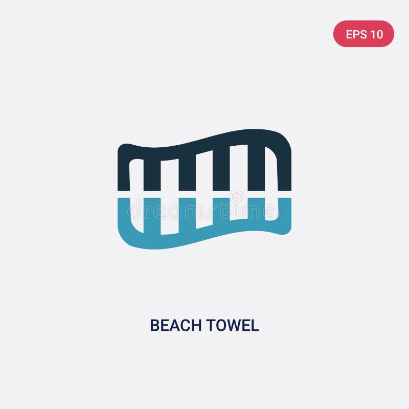 Icône de vecteur de serviette de plage de deux couleurs de concept de saison le symbole bleu d'isolement de signe de vecteur de s illustration de vecteur