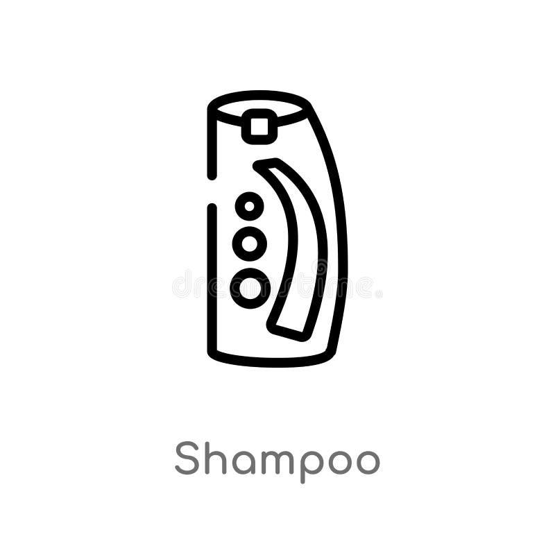 icône de vecteur de shampooing d'ensemble ligne simple noire d'isolement illustration d'élément de concept de beauté shampooing e illustration de vecteur