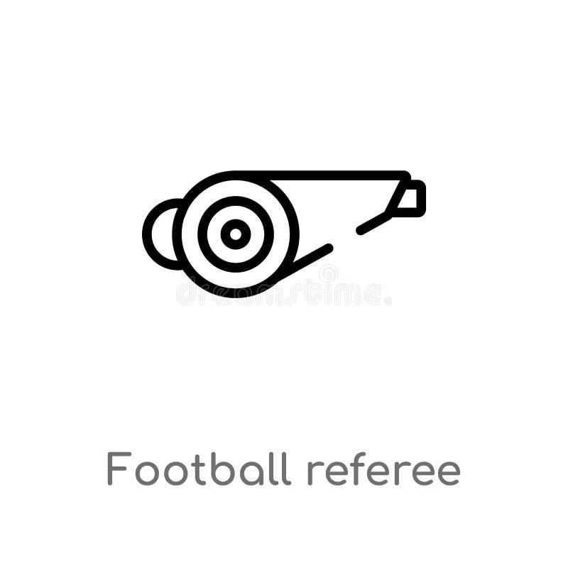 icône de vecteur de sifflement d'arbitre du football d'ensemble ligne simple noire d'isolement illustration d'?l?ment de concept  illustration libre de droits