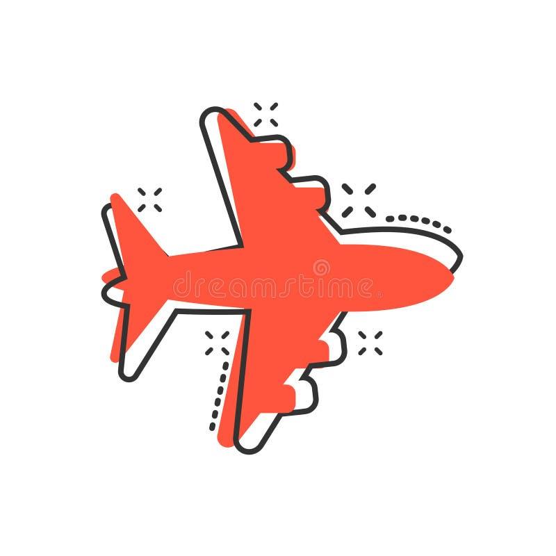 Icône de vecteur de signe d'avion dans le style comique Illustration plate de bande dessinée d'aéroport Effet plat simple d'éclab illustration libre de droits